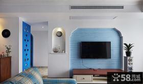 地中海风格客厅电视背景墙装饰设计效果图