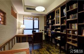 中式书房书架装修样板房效果图