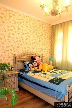 田园风格儿童房卧室壁纸效果图