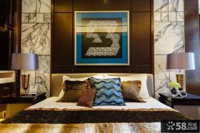 卧室床头背景墙抽象装饰画图片