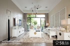 现代中式客厅电视背景墙装修效果图