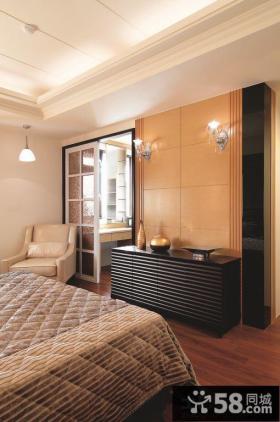 欧式古典风格装修卧室背景墙壁灯效果图
