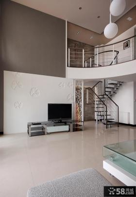 现代简约复式客厅电视背景墙装修效果图